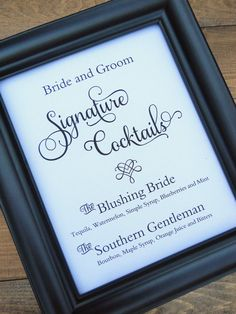Personalized Wedding Sign, SIGNATURE COCKTAILS SIGN, Custom Wedding Sign, Wedding Signs, Wedding Signage, Reception Signs