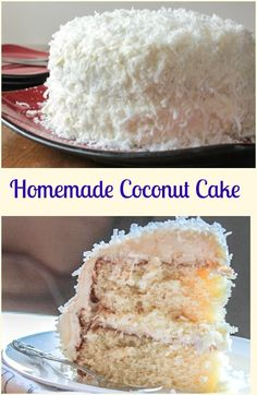 Coconut Cake, a delicious soft, moist cake with a creamy cream cheese frosting. Topped with coconut flakes, a perfect Christmas dessert. via @https://it.pinterest.com/Italianinkitchn/