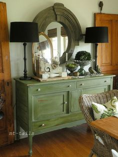 Vintage white dining room....in love with the olive green