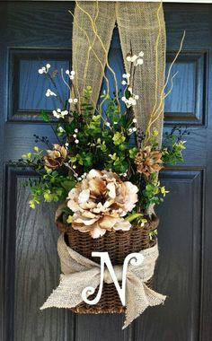 wreaths for door baskets | Pinterest project #5: Initial Front Door Basket | Wreaths