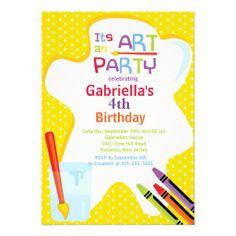 Veranstalten Sie eine Geburtstagsfeier mit lustigen Aktivitäten wie Malen   Dann sind diese farbfrohen   fröhlichen Einladungen genau das Richtige für  Sie! 4a85abd43667a