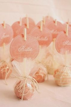 Cake pops as party favors. Love the name tag idea! I never thought of displaying cake pops upside down. Perfect for a bachelorette party sweet treat Mod Wedding, Wedding Day, Wedding Reception, Wedding Dress, Reception Seating, Wedding Flowers, Party Wedding, Trendy Wedding, Wedding Guest Gifts