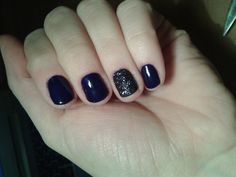 Sparkly,blue winter nails - CN one step crystalac (OS74) with dark blue glitter powder