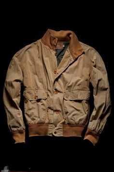 """25.000 of these jackets were sold in a single season. Garment dyed jacket in """"50 fili"""" fabric with cotton knitted collar and cuffs inspired by us air force A-1 Flying jacket. C.P. Company S/S 1991"""