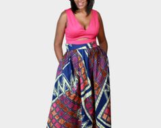 African Ankara Print maxi Skirt with pockets for by ZiZiandGrace