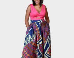 African Ankara Print maxi Skirt with pockets for by ZiZiandGrace