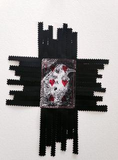 Charlotte Graham, Cardshark Manu Series,  Tui/Native Bird Lino on card stitched plastic film paper, 2014 http://www.charlottegraham.co.nz/shop/