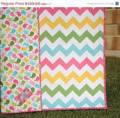 SALE Chevron Quilt Spring Baby Girl Blanket by SunnysideDesigns2, $127.88