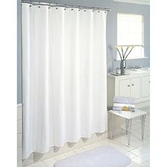 Say no to mildew with the Heavy Weight PEVA Shower Curtain Liner. Use this mildew-resistant liner to protect a fabric shower curtain or hang it all by itself! It's treated with anti-mildew agent to reduce bacteria and mildew. Vinyl Shower Curtains, Shower Curtain Hooks, White Shower, Shower Liner, Décor Boho, Curtain Fabric, Wave Curtains, Bathroom Flooring, Decoration