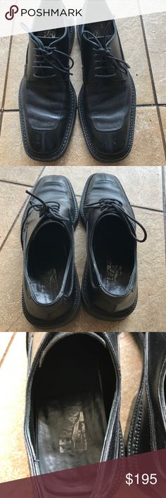 Black leather Salvatore Ferragamo lace up oxfords Great condition black leather oxfords by Salvatore Ferragamo men's size 8 Salvatore Ferragamo Shoes Oxfords & Derbys