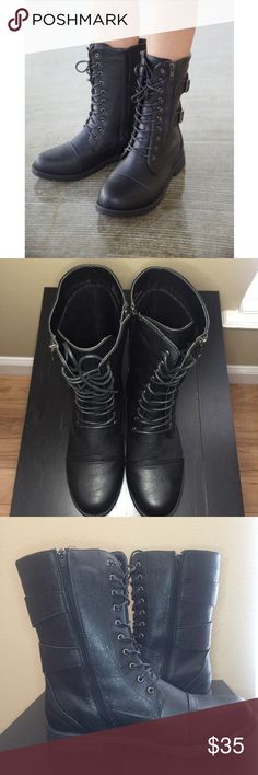 Faux Leather Combat Boots. 11W Faux Leather Combat Boots. Black. Worn ONCE. (That's when I realized its too WIDE for me) 11W. Excellent Condition. Wet Seal Shoes Combat & Moto Boots