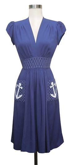 Trashy Diva Anchor Dress | Nautical Vintage Inspired Dress | Navy - 1937 pattern