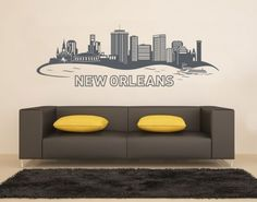 New Orleans Skyline Wall Decal, New Orleans Skyline Wall Tattoo, New Orleans Skyline Wall Sticker