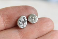 Fossil Silver Stud Earrings / Handmade Stamped by TorchfireStudio