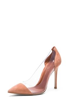 Gianvito Rossi|Suede & Plexy Laser Pumps in Spice [2]
