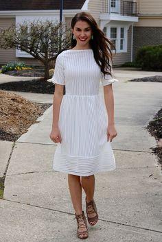 Ellie White Striped Lace Midi Dress | Piper Street