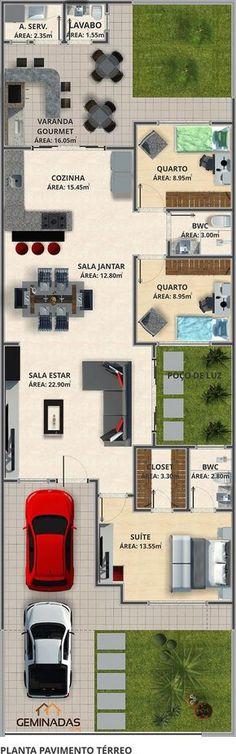 Geminada 95,6 m² sem espaço gourmet. Com fica 111,65 m²