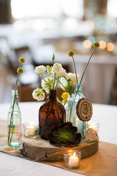 Birds of a Feather Events Photos, Wedding Planning Pictures, Texas - Dallas, Ft. Bottle Centerpieces, Flower Centerpieces, Flower Decorations, Wedding Decorations, Table Decorations, Rustic Wedding Flowers, Rustic Wedding Centerpieces, Floral Wedding, Baby Wedding