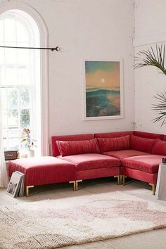 Cecilia Ruched Velvet Sectional Sofa is part of White Home Accessories Couch Luxe ruched velvet sectional sofa topped with 4 removable bolster pillows for an allinone living room set Accented with - Red Couch Living Room, Cozy Living Rooms, Living Room Decor, Living Spaces, Red Sectional Sofa, Sleeper Sofa, Apartment Furniture, Bedroom Furniture, Velvet Sofa