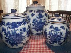3 Piece Cobalt Blue Flowers White Flow Blue Floral Toile CERAMIC CANISTER SET  #Unknown