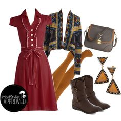"""""""About the Artist Dress"""" (ModCloth.com) with sweater, tights, & boots."""