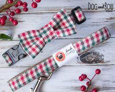 Christmas Gingham Dog Collar with Optional Leash and by DogAndBow, $20.00