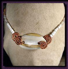 Choker Necklace  White Onyx Pendant 10008 by TheLittleBlueJewel, $22.00