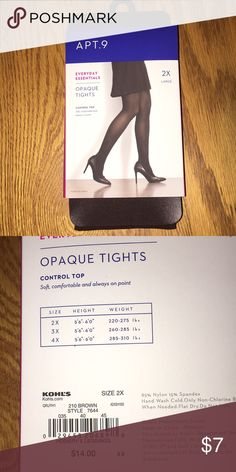 e6ea0f3f09cf4 Tights New in package tights. Size 2X. Apt. 9 Accessories Hosiery & Socks