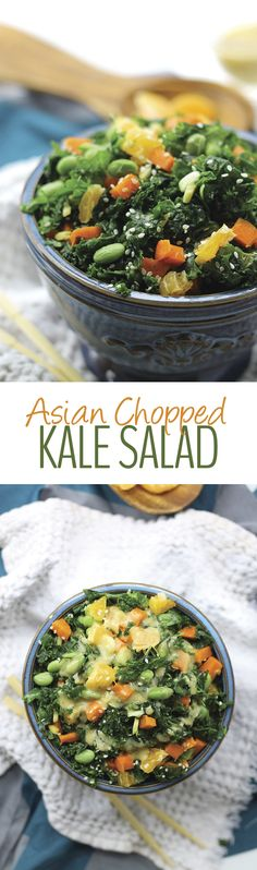 Asian Chopped Kale Salad with Miso Sesame Dressing for a healthy salad recipe to kickstart your New Year!