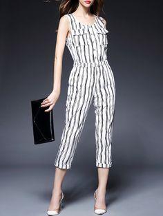 Zebra Print Cotton-blend Jumpsuit #stylewe #stripe #summer #lady