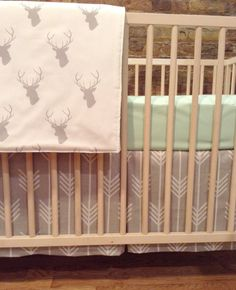 bumperless 2 piece crib bedding set in gray arrows by BLVD67, $85.00 THIS IS PERFECT! Minus the deer