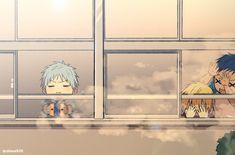 Kuroko no Basket. Last one I swear XD kid Kuroko and Kise and Aomine Kise Ryouta, Kagami Taiga, Kuroko Tetsuya, Kuroko No Basket, Anime Chibi, Anime Manga, Anime Boys, Kiseki No Sedai, Go M