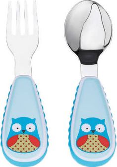 Skip Hop Baby Zoo Little Kid and Toddler Fork and Spoon Utensil Set, Multi Otis Owl Baby Shower Gift List, Skip Hop Zoo, Fork Art, Forks And Spoons, Utensil Set, Baby Gear, Baby Boys, Little Ones, Baby Items
