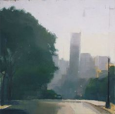 Long Island City Street #1 by Lisa Breslow, 2008, (oil and pencil on panel), 16 x 16 inches. A quiet, nostalgic, urban scene. #urban #NewYorkCity #morning