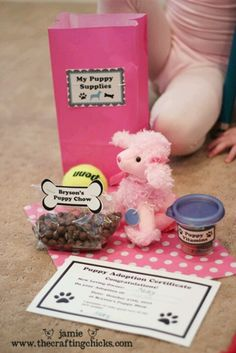 Puppy party goody bag idea/adoption kit. Perfect for my dog-crazy niece or maybe my kids someday