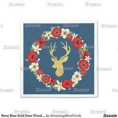 Navy Blue Gold Deer Floral Wreath Christmas Napkin