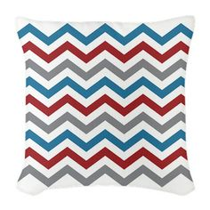 Nautical Chevron Burlap Throw Pillow - This modern chevron design is sure to liven up your home. Great for decorating your boat, summer home or beach house. The red, blue and gray color scheme will coordinate with various decor.