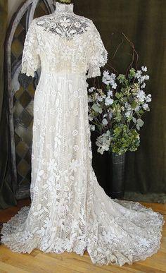 Work of Art c1900 Antique Edwardian Irish Crochet Lace Bridal Wedding Dress Gown   eBay