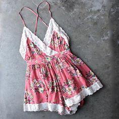 vintage inspired floral crochet lace romper