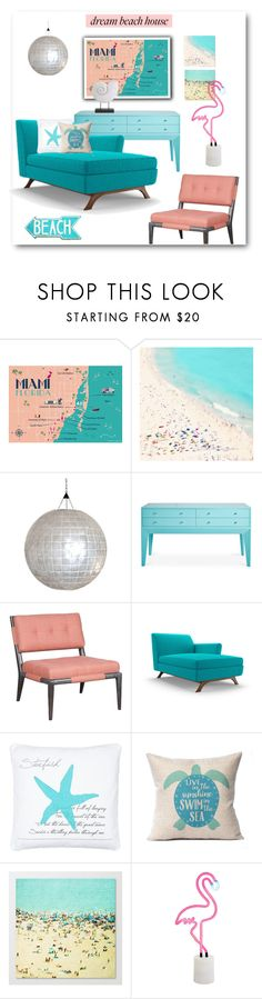 """Turquoise & Coral Study"" by metter1 ❤ liked on Polyvore featuring interior, interiors, interior design, home, home decor, interior decorating, David Francis Furniture, Joybird, Sunnylife and IMAX Corporation"