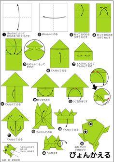 折り紙・ぴよんかえる/Pyon Kaeru/Jumping frog