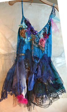 Unique Art To Wear Silk Top BLUE GIPSY With Gold/Violet Orchids Hippie Tribal Boho Tattered Gothic