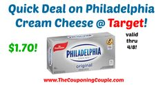 AWESOME PRICE! Be sure to pick yours up TODAY! Quick Deal on Philadelphia Cream Cheese @ Target!  Click the link below to get all of the details ► http://www.thecouponingcouple.com/quick-deal-on-philadelphia-cream-cheese-target/ #Coupons #Couponing #CouponCommunity  Visit us at http://www.thecouponingcouple.com for more great posts!