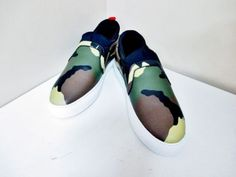 0e83286b6520 Auth GIVENCHY Skate Sock BM0840822 Khaki Camouflage Leather Men s Shoes  40