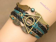 harry potter bracelet, Infinity bracelet, owl wing bracelet, green bead bracelet, gift for girl friend,boy friend.--B--003
