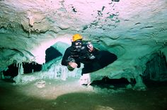 Jesus Guzman enjoying the cave dive.