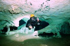 Jesus Guzman enjoying the cave dive.
