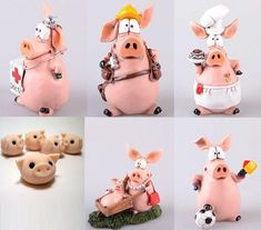 хрюшки лепим из пластилин Pig Crafts, Clay Crafts, Polymer Clay Dolls, Polymer Clay Projects, This Little Piggy, Little Pigs, Christmas Clay, Clay Baby, Clay Figures
