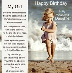 Birthday Poems to My Daughter   ... FREE >> Happy Birthday Wishes For DAUGHTER To WRITE In BIRTHDAY CARD: