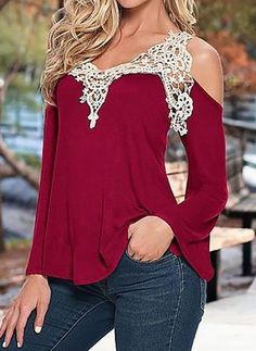 Blouse Women V Neck Lace Crochet Shirts Plus Size Female Casual Shirts 2017 Long Sleeve Blusas Off Shoulder Top Shirts T-shirt Au Crochet, Crochet Shirt, Sexy T Shirt, Blouses For Women, T Shirts For Women, Shirt Bluse, Tee Shirt, Long Blouse, Mode Style